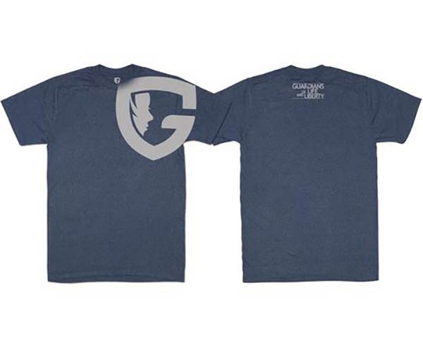 Blue tee with G logo over shoulder