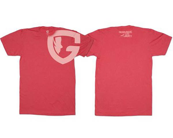 red G tee with G logo on upper chest and shoulder
