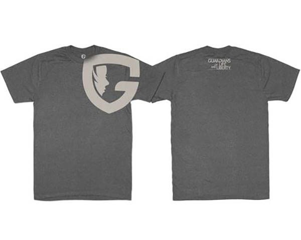 charcoal G tee with G logo on upper chest and shoulder
