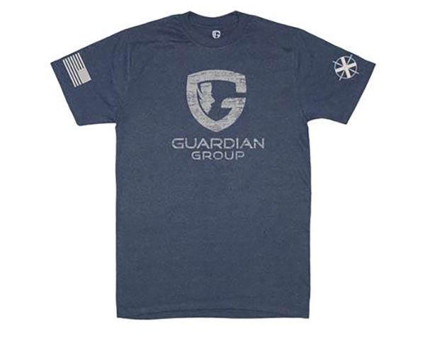 navy tee with Guardian Group logo onfront and flag on sleeve