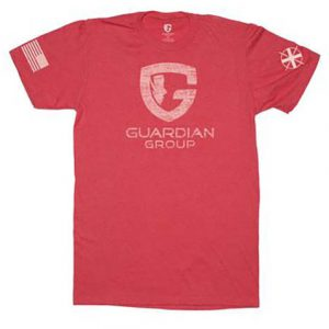 red tee with Guardian Group logo onfront and flag on sleeve