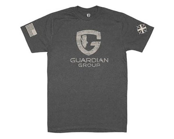 charcoal tee with Guardian Group logo onfront and flag on sleeve