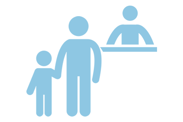 Icon of older person and younger at check in desk