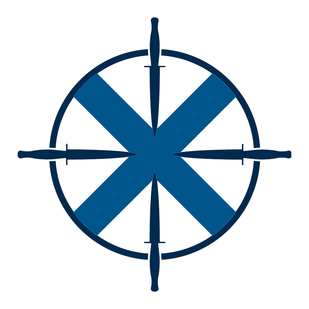 Pursuit logo: circle with 4 swords facing in and a blue X through middle