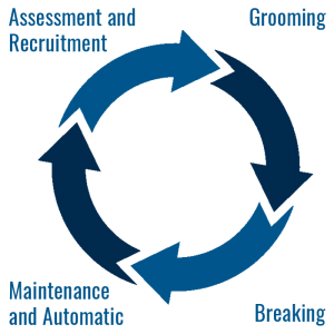 icon of human trafficking cycle: includes grooming, breaking, maintenance and automatic, assesment and recuritment