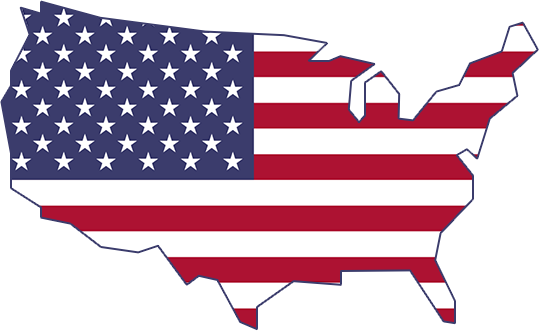 icon of United states with American Flag in the middle