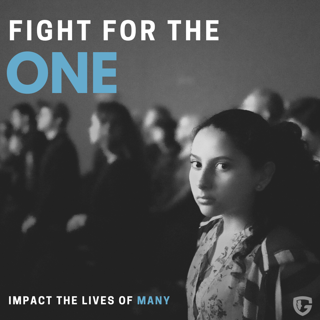 girl in crowd. words read fight for the one, impact the lives of many