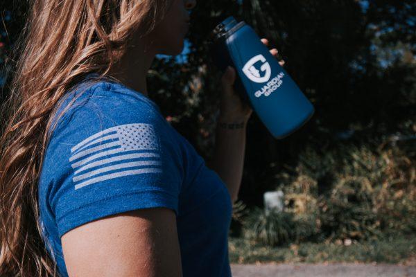 women's blue tee