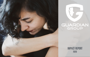 impact report cover, girl looking down, guardian group logo