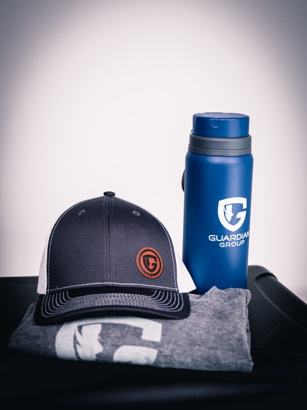 guardian group products - hat, water bottle and shirt