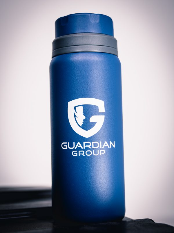 blue water bottle with Guardian Group logo